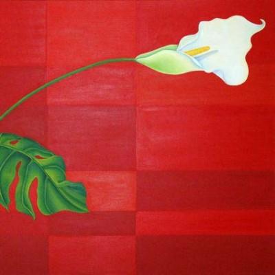 Calla auf rotem Grund - Öl auf Leinwand - Ausschnitt