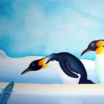 Pinguine - Öl auf Leinwand - Ausschnitt